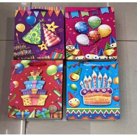 Подарочный пакет 2355M (240шт) Happy Birthday 32*10*26 см, 4 вида 12 шт в пакетецена за шт рис. 1