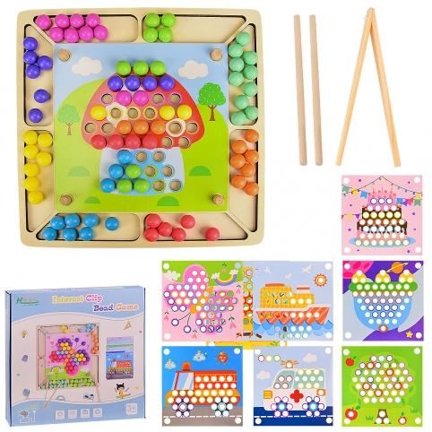 Деревянная игрушка WD2313 (20шт) мозаика, в комплекте 8 шаблонов картинок, в коробке 32*31*4 см, р-р рис. 1