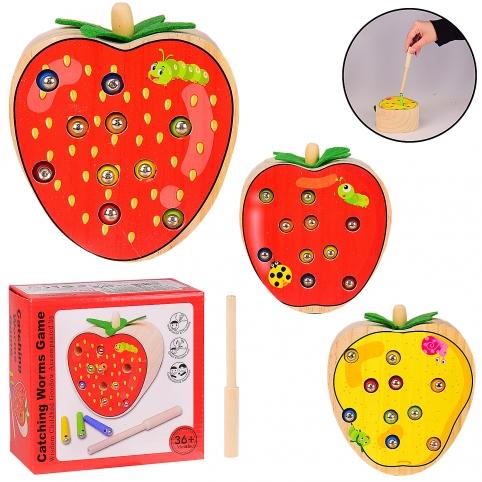 Деревянная игрушка WD610 (48шт) рыбалка-червячки,3 вида, в коробке 14.5*7.5*15 см, р-р игрушки – 11. рис. 1