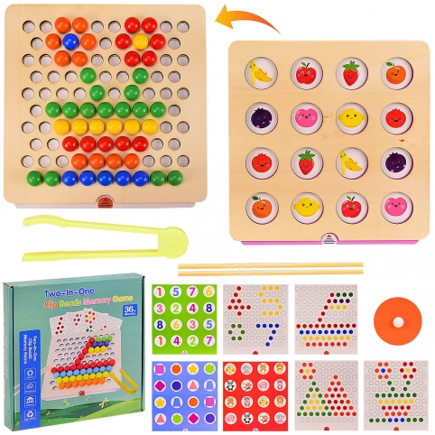 Деревянная мозаика 2в1  WD2701 (40шт)игра на память, мозаика с трафаретами, в коробке 24*24*4.5 см, рис. 1