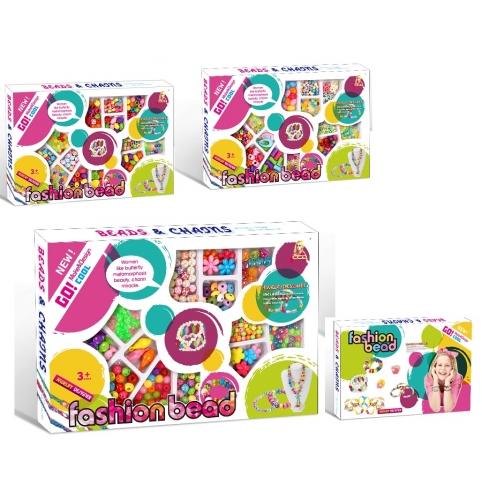 Набор для творчества 338-957956955(72шт2)изготовление браслетов,бусины,3вида,в коробке 34*22,5см рис. 1