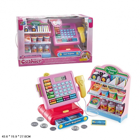 Кассовый аппарат 16829 (10 шт) свет,звук,калькулятор,скане,монетки,полка с продуктами,в кор.43,6*15, рис. 1