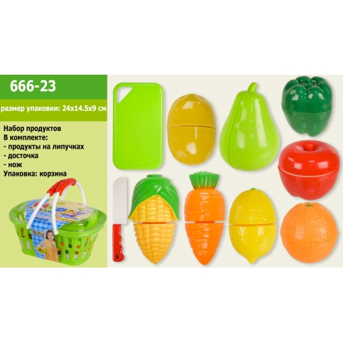 Продукты 666-23 (48шт2) на липучках,дощечка,нож,в корзине 20*14*8,5см рис. 1