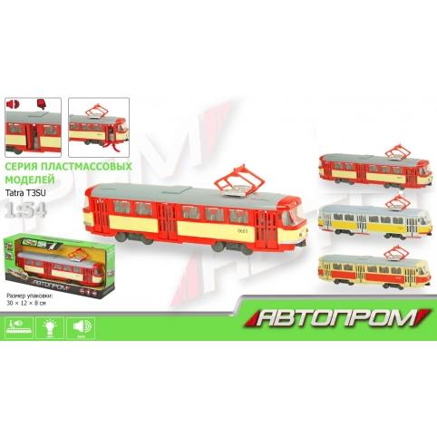 """Трамвай инерц. 9708ABD (24шт) """"АВТОПРОМ"""",1:54,3 цвета, батар.,свет,звук, в кор.31*8*11,4см рис. 1"""