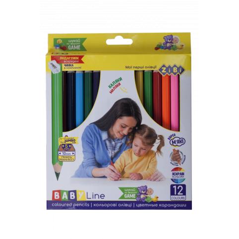 Кольорові олівці JUMBO, з чинкою 12 кольорів
