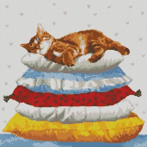 """Набір з алмазною мозаїкою """"Котячі сни"""" 40*40см рис. 1"""