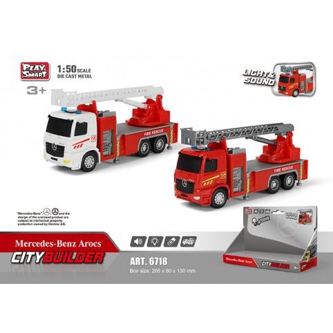 Машина металл Пожарные службы 6718 (48шт2)1:50, 2вида, свет,звук, в откр. кор.20,5*8*13см рис. 1