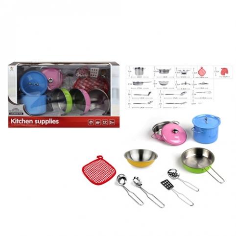 Посуда 988-C9 (24шт) кастрюли, сковородка,миска,кухон.набор, металл,в кор-ке,37-11,5-21,5см рис. 1