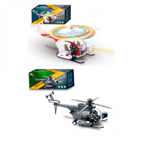 Вертолет 286-17-19 (48шт) 34см, фигурка 8,5см, звук,свет, 2цвета, на бат-ке, в кор-ке, 35-14,5-10см рис. 1