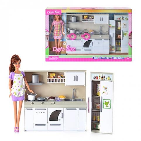 Кукла DEFA 6085 (12шт) кухня, продукты, посуда, 2 вида, свет, в кор-ке, 50-32-9см рис. 1