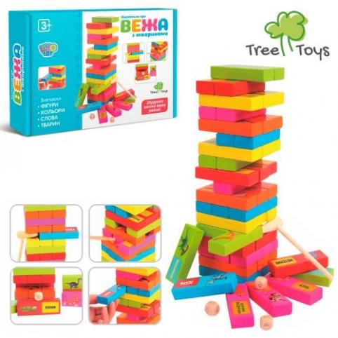 Деревянная игрушка Игра MD 2336 (36шт) Башня, обуч(животные), молоточек, в кор-ке, 24,5-18-5см рис. 1