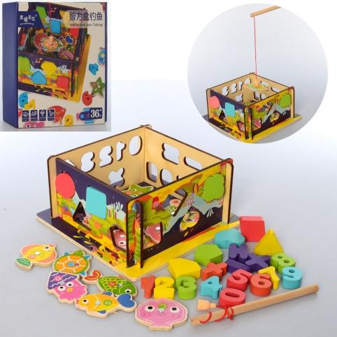 Деревянная игрушка Центр развивающий MD 2570 (24шт) сортер, рыбалка(магнит), в кор-ке, 23-23-5,5см рис. 1