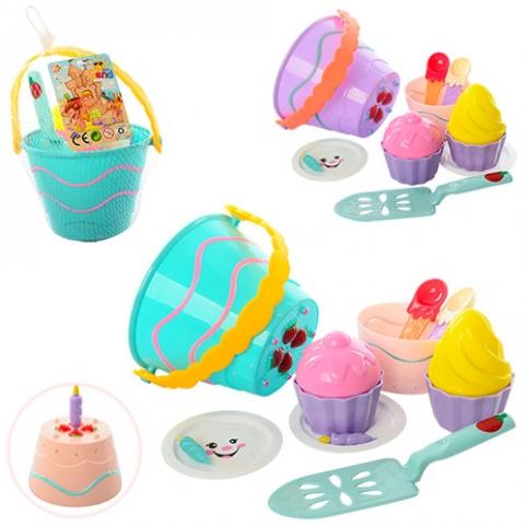 Набір для пісочниці 743 торт, відерце, форм., посуд, 2 кольори, сітка, 17-13-18 см. рис. 1