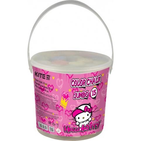 Мел цветной Kite Jumbo Hello Kitty HK21-074, 15 шт. в ведерке