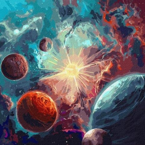 Набір для творчості Ідейка КН9540 Зодіак Навколо сонця з фарбою металік 50х50см