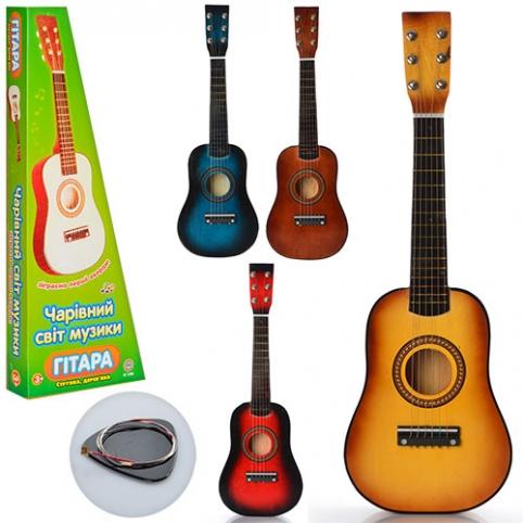 Гитара M 1369 (20шт) дерев,58см, струны 6шт, запасная струна, медиатор, 4 цвета, в кор-ке, 59-22-7см рис. 1