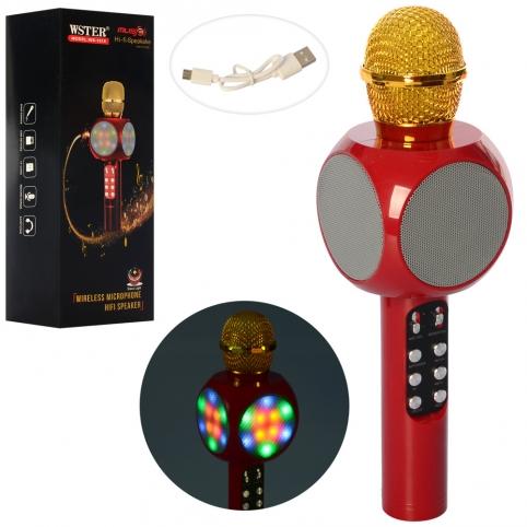 Микрофон 1816-red (40шт) 27см, аккум,звук,свет, Bluetooth,TFслот,USBзар,красный,в кор,29,5-10,5-9см рис. 1
