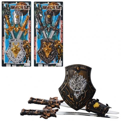 Набор рыцаря 222-6-6A-7 (72шт) меч 2шт, 49см, щит, доспехи, 3вида, на листе, 29-63-3см рис. 1