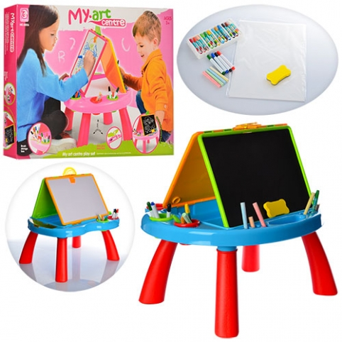 Мольберт 8805-06 (12шт) двухсторон, столик игровой, маркеры,мелки,губка,2 цвета, в кор-ке, 61-41-7см рис. 1