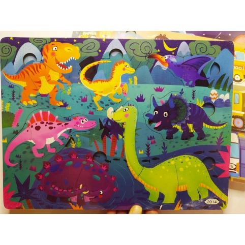 Деревянная игрушка Пазлы MD 2561 Динозавры , 30-22,5-1см рис. 1