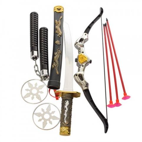 Набір ніндзя 8610 лук, стріли присоски 3 шт., меч, нунчаки