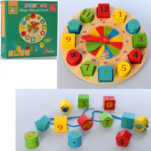 Деревянная игрушка Часы MD 2606 (36шт) рамка-вкладыш, шнуровка, в кор-ке,22,5-22,5-3,5см рис. 1