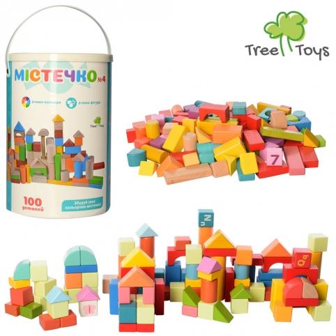 Деревянная игрушка Городок MD 2358 (12шт) 100дет, в ведре, 26-18-18см рис. 1