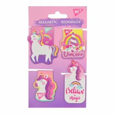"""Закладки магнитные YES """"Unicorn"""", высечки и глиттер, 4шт"""