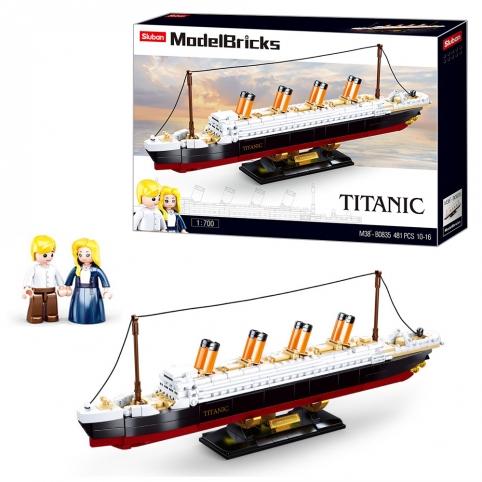 Конструктор SLUBAN M38-B0835 (12шт) Титаник, 1:700, фигурки, 481дет, в кор-ке, 47,5-33-7см рис. 1