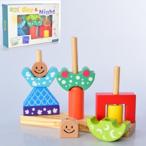 Дерев'яна іграшка Пірамідка MD 1619 День і ніч,