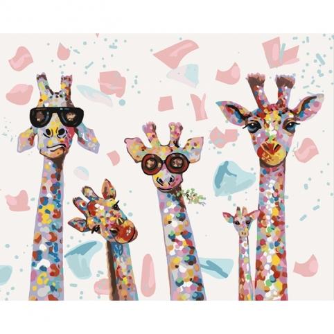 """Набір для розпису по номерах. """"Веселі жирафи"""" 40*50см рис. 1"""