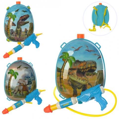 Водяной автомат M 5952 (36шт) с баллоном на плеч29см,динозавр,разм.средн,26см,микс вид,кул,22-33-8см рис. 1