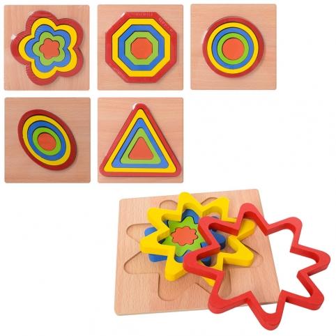 Деревянная игрушка Рамка-вкладыш MD 2090 (100шт) 6 видов, в кульке, 14,5-14,5-1см рис. 1