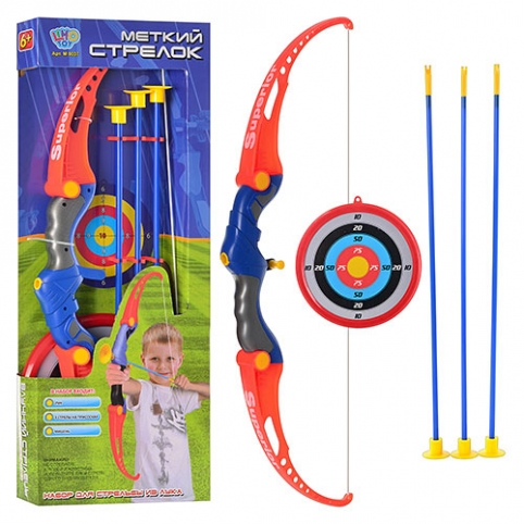 Лук M 0037 (18шт) стрелы на присосках, мишень, в кор-ке, 65,5-24,5-5см рис. 1