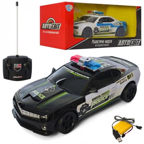 Машина AS-2722 АвтоСвіт, радіокер., акум., поліція, гум.кол, USB, 2кольори, світло, кор.,34-14-15см. рис. 1