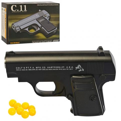 Пистолет C11 (30шт) металл, на пульках, 12,5см, в кор-ке, 17-12,5-4см рис. 1