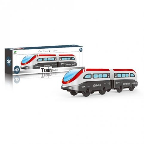 Поезд AU9889 (144шт) локомотив 2шт, 10см, едет, на бат-ке, в кор-ке, 27-8,5-5см рис. 1
