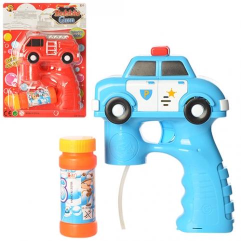 Мыльные пузыри MY160-1 (72шт) пистолет-машинка, запаска, 2 вида, на листе, 18-25-7см рис. 1
