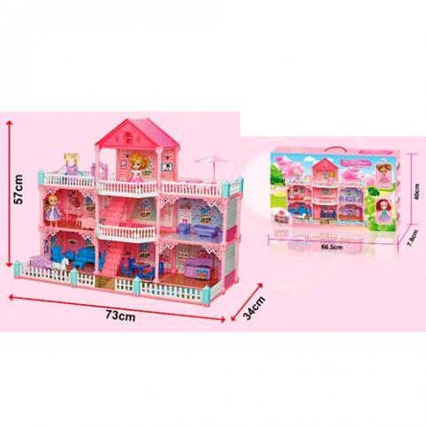 Домик VC6017 (6ш) кукла, 2шт, 11см, 3этажа,73-57-34см, мебель, 169предм, в кор-ке,67-40-6,5см рис. 1