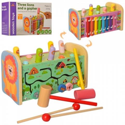Дерев'яна іграшка Ксилофон MD 2218 палички, стукалка, молоточок, лабіринт, кор., 24,5-16-12см.