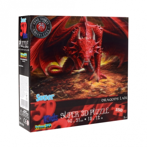 Пазлы 3D 10848 (6шт) огненный дракон, 46-31см, 150дет, в кор-ке, 20-20-5см рис. 1