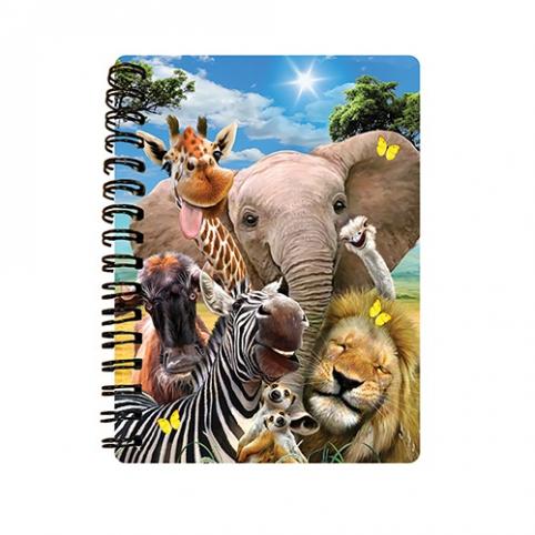 Блокнот 18133 (144шт) африканские животные, селфи, 10,5-14,5см, клетка,на пружине, 3D,24шт в дисплее рис. 1