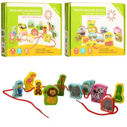 Деревянная игрушка Шнуровка MD 1263 (48шт) фигурки, 2вида, в кор-ке, 29-21,5-3,5см рис. 1