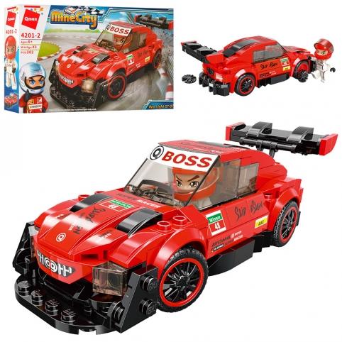 Конструктор Qman 4201-2 (48шт) гонка, машинка, фигурка, 202дет, в кор-ке, 37-28-6,5см рис. 1