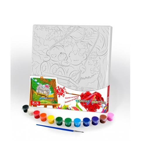 """Креативна творчість """"Розпис на полотні """"Canvas Painting"""" 31см*31см с.7 №8 ведмеді рис. 1"""