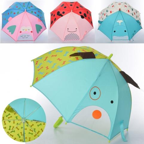 Зонтик детский MK 4475 (30шт) длина66см,трость62см,диам.74см,спица49см,ушки,ткань,микс вид, в кульке рис. 1