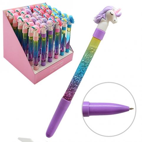 "Ручка шарик с жидкостью и блестками ""Unicorn"" ST00968 (1296шт) рис. 1"