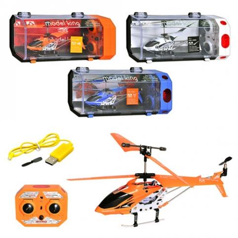 Р/У Вертолет 33008 (24шт) гироскоп, аккум, 3-х канальный пульт ДУ, мет+пластик, в кор-ке, 28-14-10см рис. 1