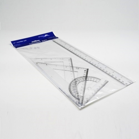 Набор линеек 4пр. 30см линейка, 2 треугольника, транспортир пласт ST00296 (288наб) рис. 1