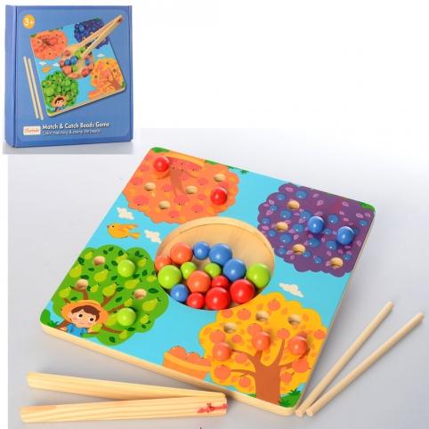 Деревянная игрушка Игра MD 2449 (24шт) игровое поле, шарики, щипцы, в кор-ке, 24-23-3,5см рис. 1